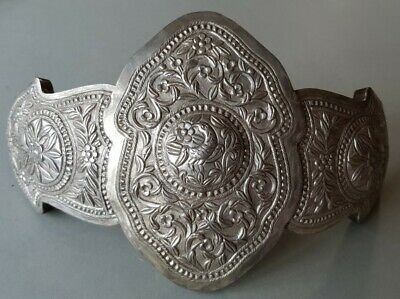 ANTIQUE 1899 Macedonian Ottoman Hand forged engraved silver alloy belt buckle