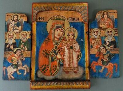 RARE ANTIQUE Balkan Greek Orthodox wooden triptych home altar icon 150 years old