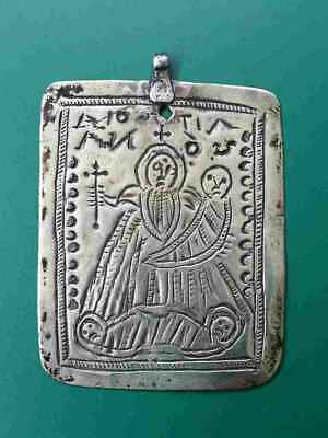 RARE ANTIQUE Greek Orthodox silver alloy icon amulet St. Silianus 200 years old