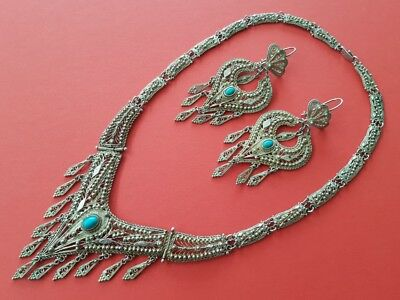 MAGNIFICENT & delightful SET  Ottoman SILVER filigree NECKLACE with earrings
