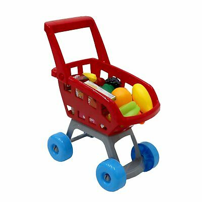 Childrens Toy Supermarket Shopping Trolley Mini Cart Set Red Kids Role Play
