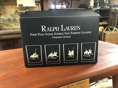 Ralph Lauren Polo Scene Double Old Fashioned Set Of 4 Glasses New In Box