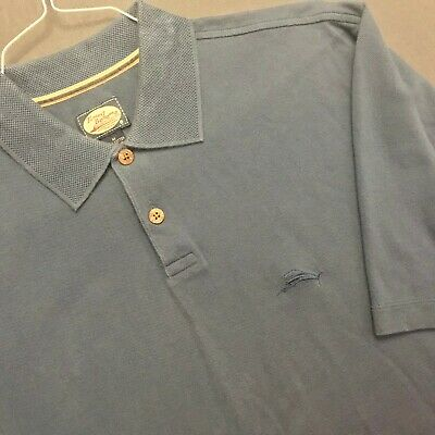 Tommy Bahama Grayish Blue 100% Cotton Polo Shirt Exc Cond Size M