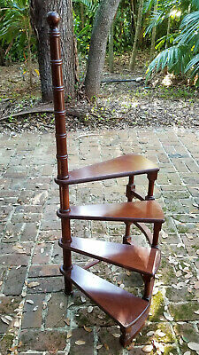 "EARLY-MID 20 c ENGLISH REGENCY MAHOGANY WOOD LIBRARY STAIRS ~ 48"" H"