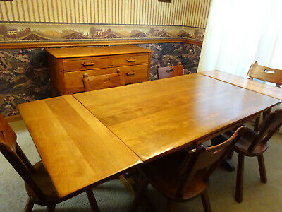 Vintage Cushman Colonial Creation trestle table, sideboard buffet, 6 chairs