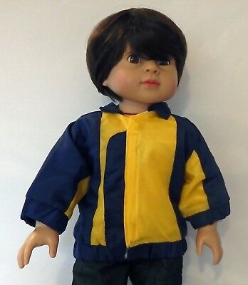 "Doll Clothes Navy /& Yellow Hooded Puffy Jacket For 18/"" American Girl Boy"