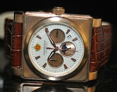 Mens Louis Richard Automatic Chronograph White Dial Brown Genuine Leather Watch