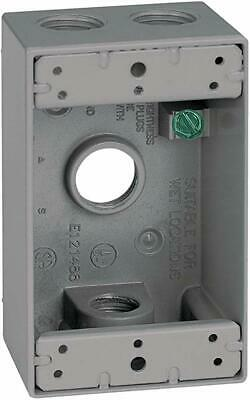 """Sigma Electric Outlet 1-Gang Box - Gray - 14251 - 4 Hole 1/2"""" - All-Weather"""