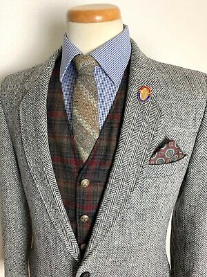 Vtg HARRIS TWEED x DUNN & CO Blazer 38 L jacket HERRINGBONE Sport Coat IVY Trad