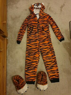 M&S Kids Childs Tiger pyjamas all in one sleep suit Age 9 10 and slipper feet