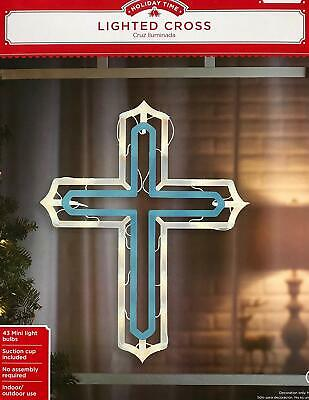 Holiday Time Blue & White Lighted Christmas Easter Cross Indoor or Outdoor Use