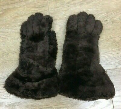 Vintage Antique Late '30s Beaver Lamb Sheepskin Brown Gloves Ladies' Size Small