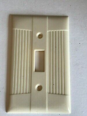Vintage MCM Art Deco Wall Toggle Switch Plate Ivory