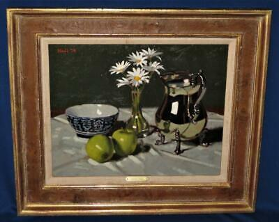Gregory Hull Oil on Canvas SILVER PITCHER WITH APPLES Still Life Framed Signed