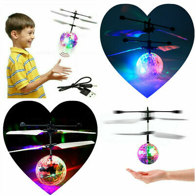 Magic Helicopter Infrared Induction LED Flash Flying Ball Disco Kids Flying Toys