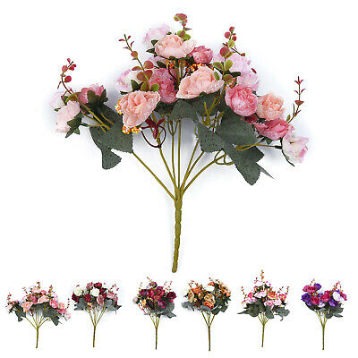 21-Head Artificial Roses Bouquet Silk Fake Flowers Wedding Party Home Decor