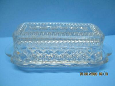 """Vintage Anchor Hocking """"Wexford"""" Pattern Clear Pressed Glass Covered Butter Dish"""