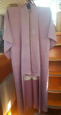 Lovely Lilac Vintage Japanese Full Length Kimono With Tree Pattern