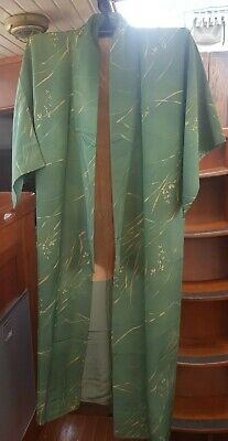 Lovely Green With Gold Leaf Pattern Vintage Japanese Full Length Kimono