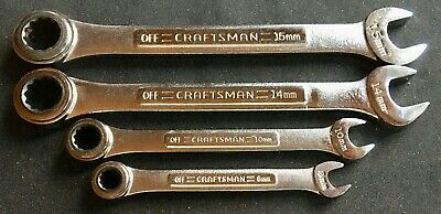 Rare 4 Craftsman Metric Ratcheting Gear Type Wrenches 30 Teeth Usa 8,10,14,15Mm