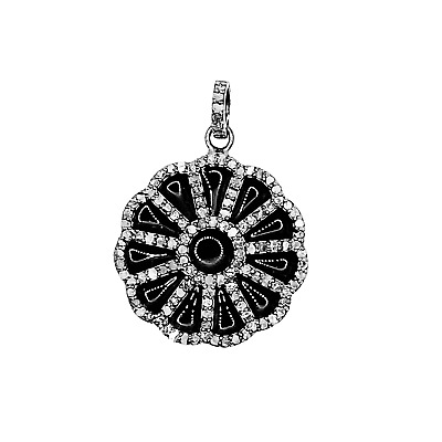 Sterling Silver Enamel Pendant With Champagne Diamond and Black Rhodium Plated 3