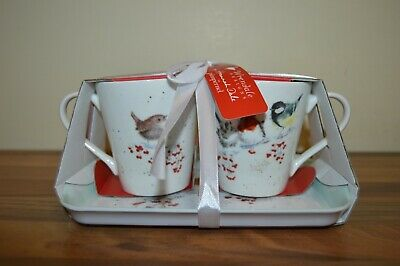 Royal Worcester Wrendale by Hannah - One Snowy Day Mug and Tray Set - Birds BNWT