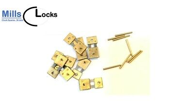 8 Brass Clock Pendulum Suspension Springs and Pins, English,German, Repair (8sp)