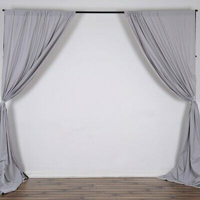 SILVER 10 x 10 ft Polyester BACKDROP CURTAINS Drapes Panels Home Decorations