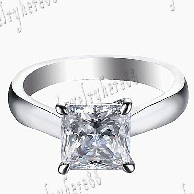 Beauty Sterling Silver 925 Cubic Zirconia 4.19ct Bridal Engagement Wedding Ring