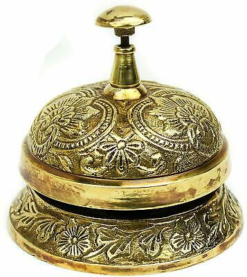 Classic Office Desk Bell Solid Brass Traditional Art Work Loud Durable NGN171