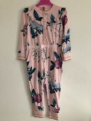 TED BAKER Girls Cotton Hummingbird Print All In One Sleep suit Nightwear Age 4/5
