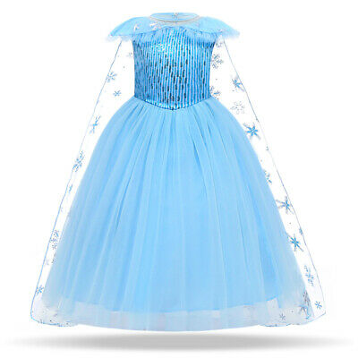 Girls Costume Princess Elsa Cosplay Kid Childrens Sequin Xmas Party Fancy Dress