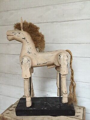 Vintage Antique Folk Art Handmade Wooden Jointed Horse Hand Painted