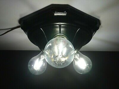 Vintage Cast Iron 3 Bare Bulb Flush Ceiling Light Fixture RESTORED to PERFECT