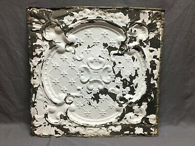 "Antique Decorative Tin Metal Ceiling 2' x 2' Shabby Vtg 24"" SQ Chic Old 2-20B"