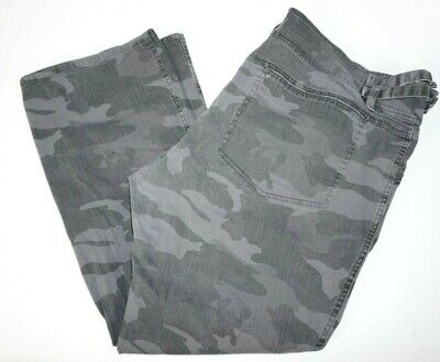 Be Bop Womens Plus Size Wide Flare Camouflage Pants, Stretch Cotton Gray 24/25
