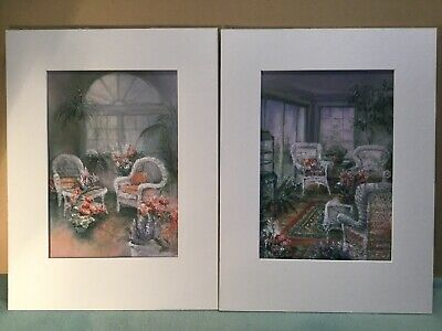 Pair Of Original Pastel Drawings Interior Scenes