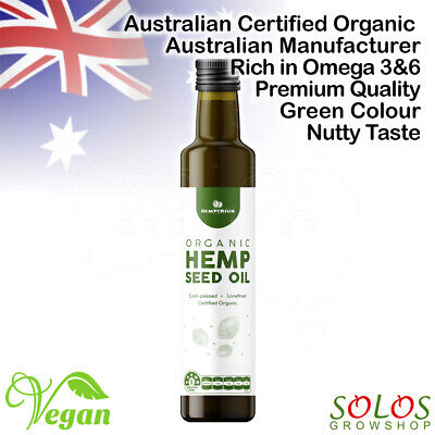HEMP SEED OIL AUSTRALIAN CERTIFIED ORGANIC VEGAN COLD PRESSED 250ml,500ml,1l,2l