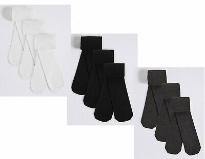 3 x Girls Tights Soft Cotton Rich Lycra School Tights Black White Grey Navy
