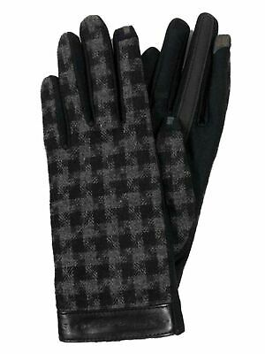 Isotoner Smart Touch Womens Black Plaid Houndstooth Tech Text Touchscreen Gloves
