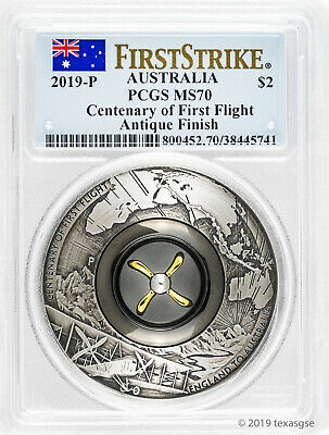 2019 $2 Australia Centenary of First Flight 2oz Antique Silver Coin PCGS MS70 FS
