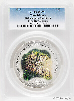 2019 $25 Cook Islands 7 Summit Series Kilimanjaro 5oz Silver Coin MS70-First Day
