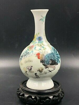 A Famille-Rose 'Mandarin Chickens' Vase With Mark