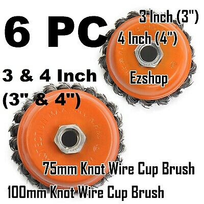 "(6pcs) 4"" & 3"" Arbor FINE Knot Wire Twist Cup Brush - For Angle Grinders Wheel"