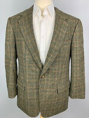 Brooks Brothers Wool Tweed Glen Plaid Sport Coat Jacket sz 43 R Dark Green Brown