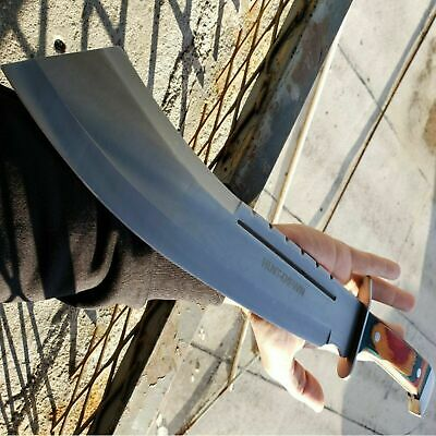 "19"" Full Tang HUNTING MACHETE KNIFE w/ SHEATH Military Fixed Blade Wood Handle"