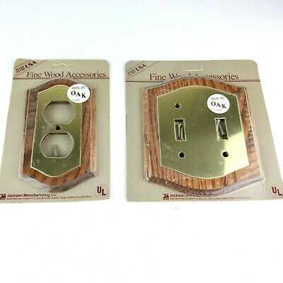 Vintage Outlet Cover & Light Switch Cover Oak and Brass 1984 Made In USA NOS