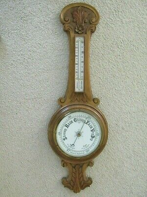 Antique Aneroid Wall Barometer Carved Oak Surround