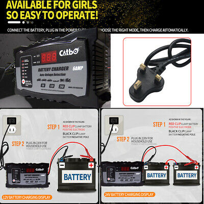 Automatic Electronic Car Battery Charger 12V/24V Fast/Trickle/Pulse No humancare