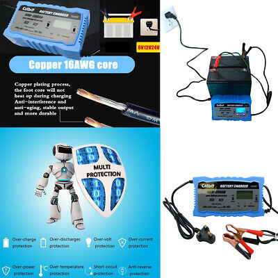 Car Battery Charger Heavy Duty 12V/24V Trickle/Turbo Leisure Vehicle Lorry 6-10A